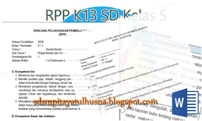 Contoh RPP Kelas 5 SD Kurikulum 2013 Revisi Terbaru