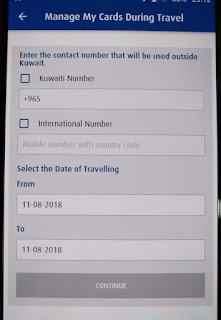 NBK travel notice date selection