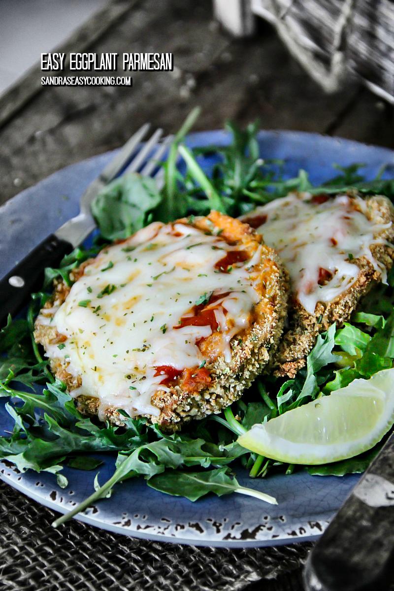 Easy Eggplant Parmesan #recipe -- for more recipes visit sandraseasycooking.com