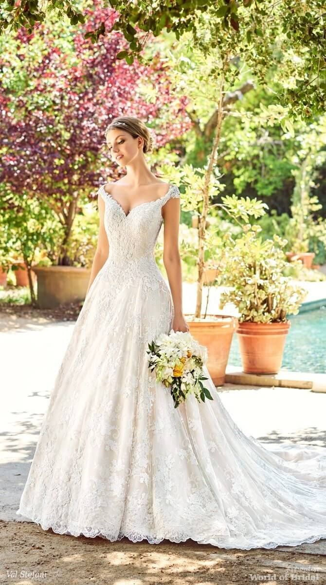 Val Stefani Spring 2018 Off The Shoulder Ball Gown with Lace
