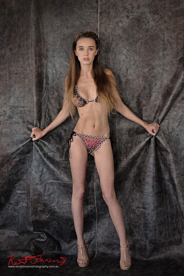 Full length shot, Missoni bikini, long legs, daylight studio. Modelling portfolio photoshoot by Kent Johnson Photography, Sydney, Australia.