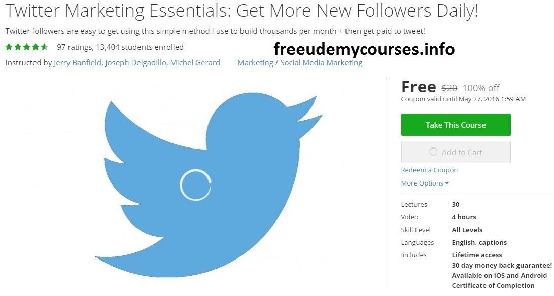 100 Free Udemy Course Twitter Marketing Essentials