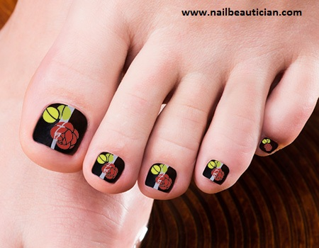 Rose toe nail design
