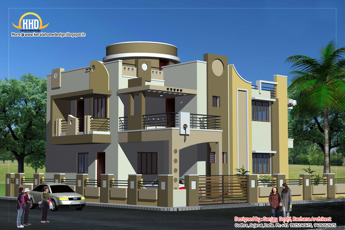 Duplex house plan and elevation 3122 sq ft indian for Ground floor 3d elevation