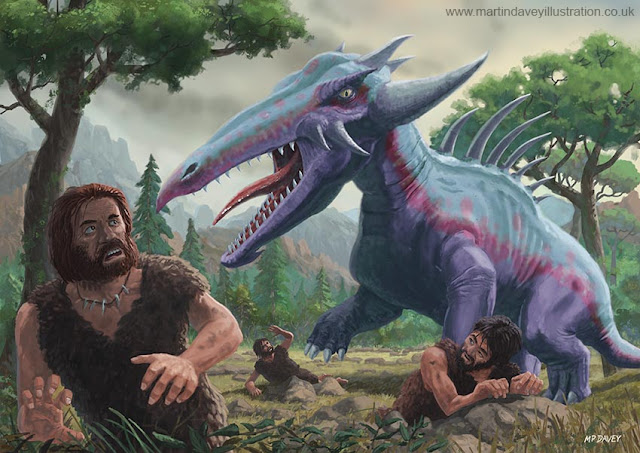 martin davey big monster attacking cavemen
