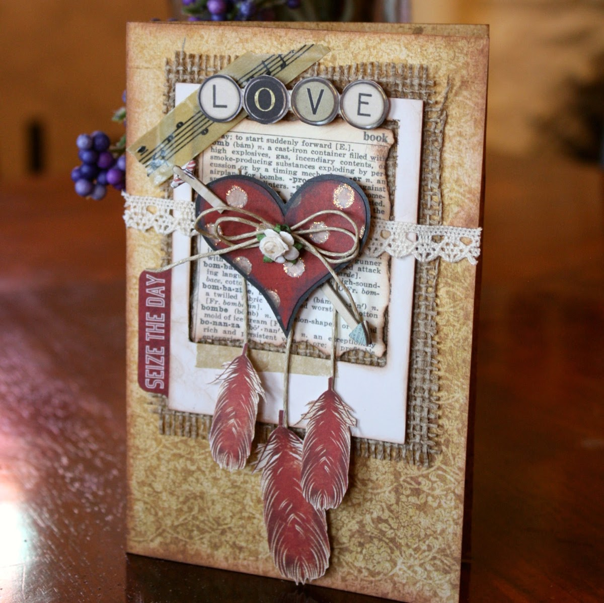 Love Card by Gabrielle Pollacco using Bo Bunny's Star-Crossed paper and embellishment collection