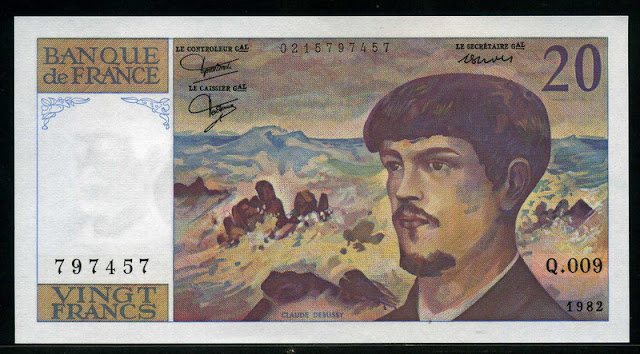 paper money currency France 20 French Francs Debussy banknote