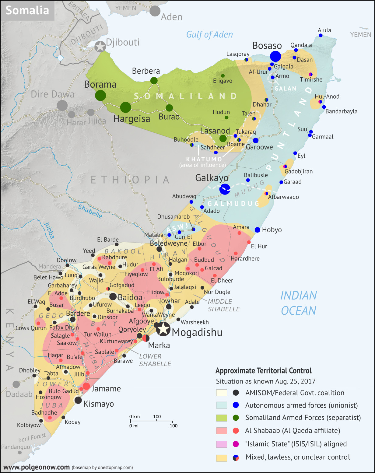 Somalia Control Map Timeline August 2017 Political Geography Now