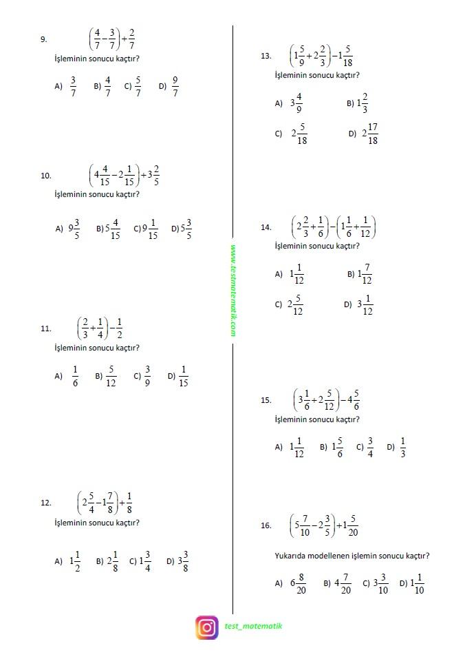 6 Sinif Kesirlerle Toplama Ve Cikarma Islemi Test Matematik