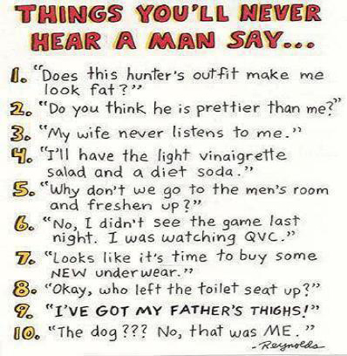 Funny Things You'll Never Hear A Man Say List Picture