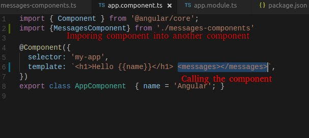 using component in angular2