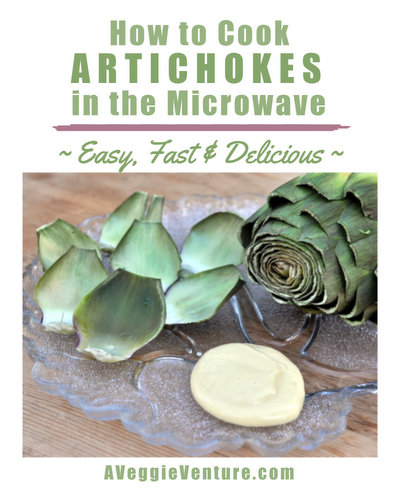 How to Cook Artichokes in the Microwave, another easy vegetable how-to ♥ AVeggieVenture.com, dead easy, dead delicious. Weight Watchers Friendly. Whole30 Friendly. Vegan. Low Fat. Gluten Free.