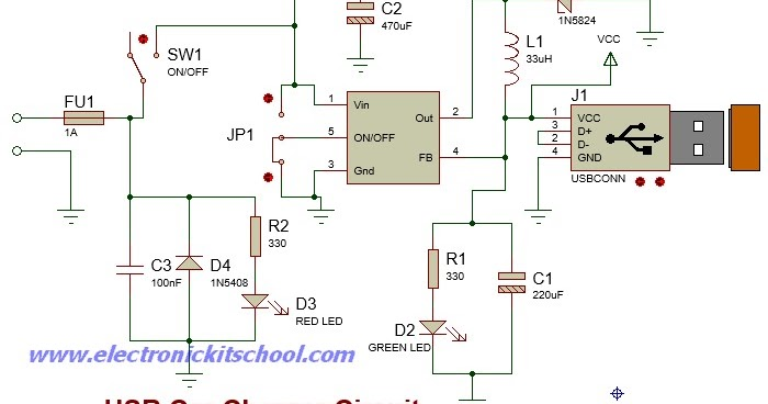 Simple USB Car Charger Circuit using LM2596 IC