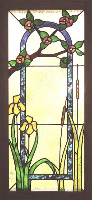vitrail fleurs art-nouveau