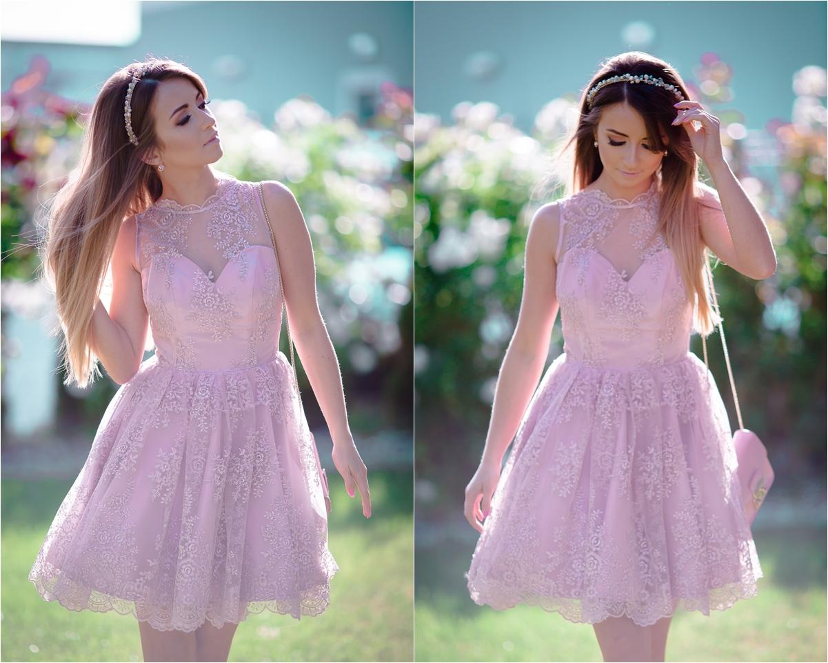 Stylizacja Na Wesele Pudrowa Sukienka Z Koronki Like A