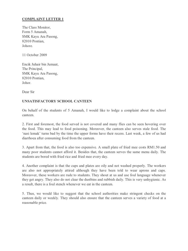 Formal letter complaint about bus service essay spm