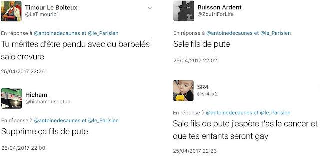 Echantillon d'insultes et menaces reçues par Antoine de Caunes sur Twitter