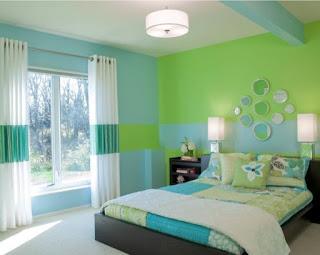 dormitorio color turquesa verde