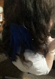 secret color electric blue hair extensions back shot