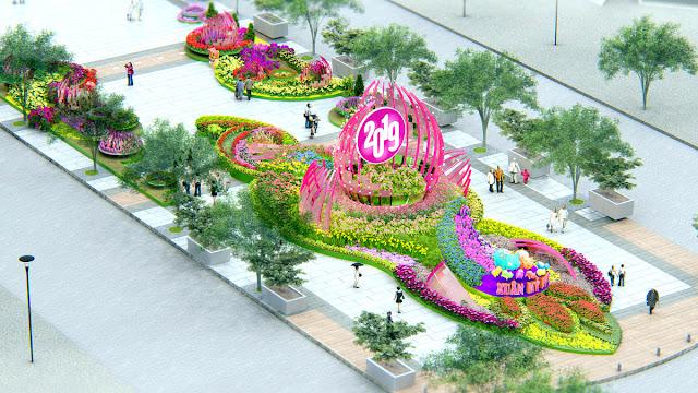 thiết kế đường hoa Nguyễn Huệ
