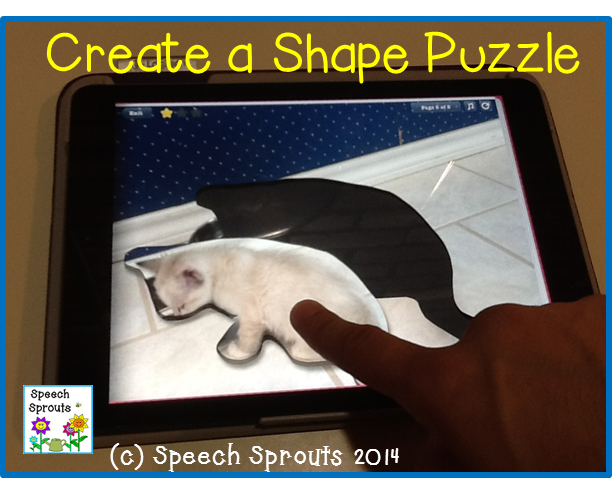 Create puzzles with your own photos,for speech therapy with this App: Tiny Tap