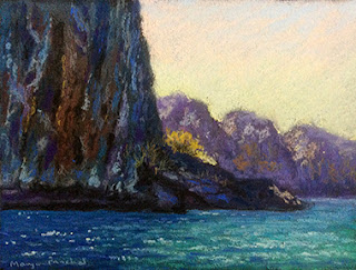 A Soft pastel painting of a scene from Phi Phi Leh ( Thailand ) BY Manju Panchal