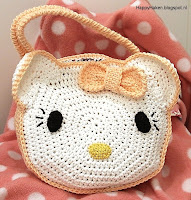 Gehaakt Hello Kitty tasje * haakpatroon of haakpakket van HappyHaken