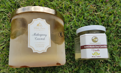 Bath and Body Works 'Mahogany Coconut' 3 Wick Candle and Eden's Choice Naturals 'Vanilla' Hand Made Candle - www.modenmakeup.com