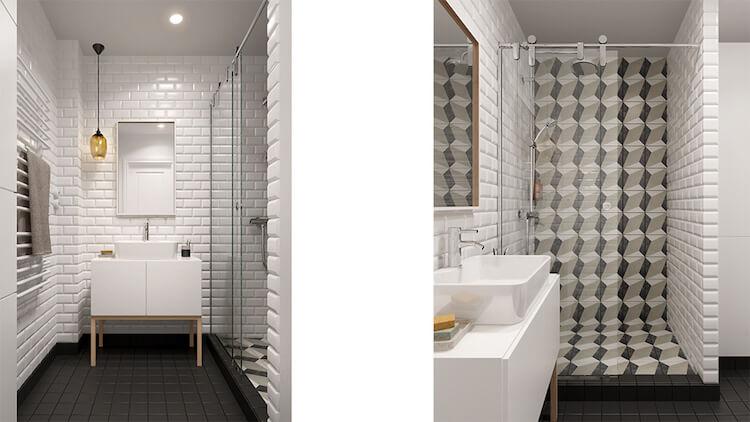 Reforma de un pequeño apartamento, baño con alicatado con motivos geométricos