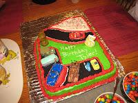 cake decorated like cars race track