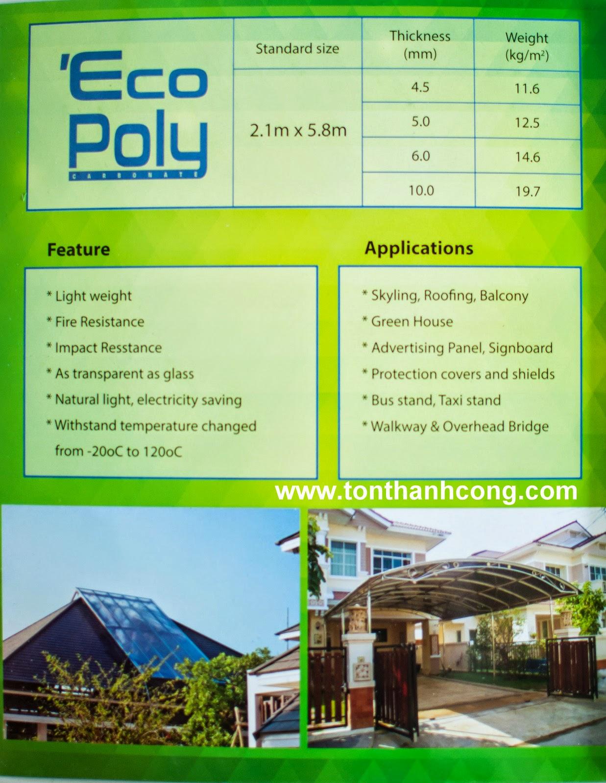 Catalogue Tấm Lấy Sáng Polycarbonate Rỗng Ruột EcoPoly - Trang 4