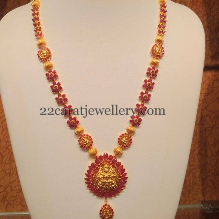 Ruby Floral Long Chain With Lakshmi Jewellery Designs