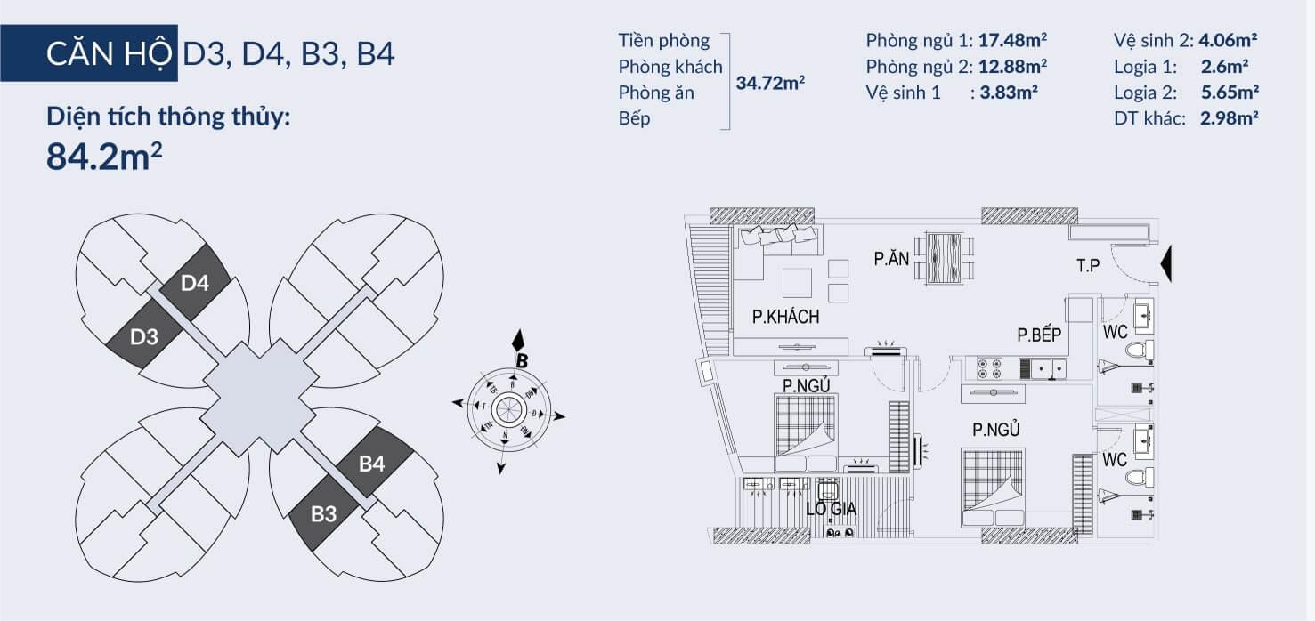 Chi tiết căn hộ D3 dự án Sky View Plaza