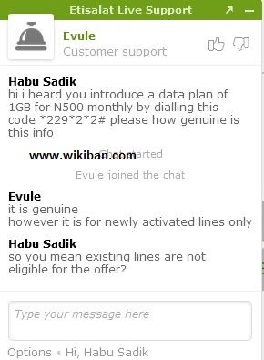 Chat with etisalat customer care