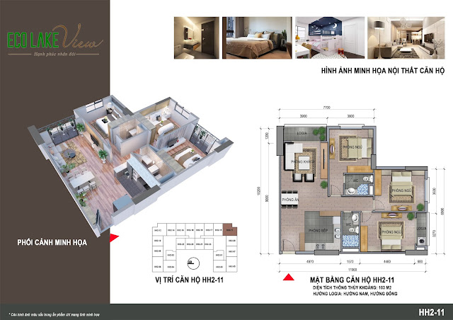 Thiết kế căn hộ A2 - 11 chung cư ECO LAKE VIEW