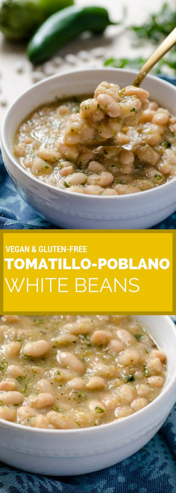 Tomatillo Poblano White Beans