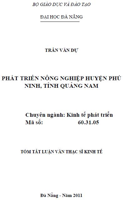 Phát triển nông nghiệp huyện Phú Ninh tỉnh Quảng Nam