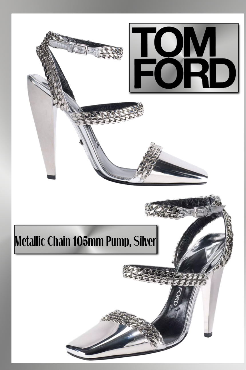 TOM FORD Metallic Chain 105mm Pump, Silver