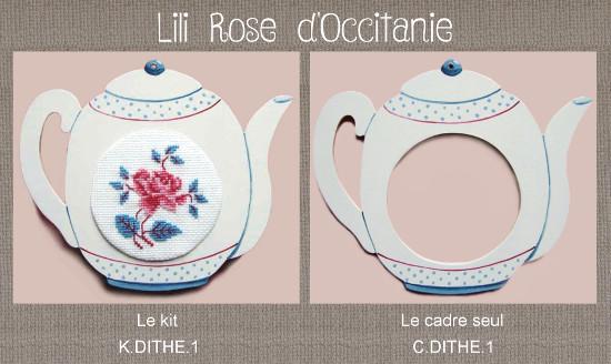 """Cadre bois peint """"Théière Digoin"""" + grille assortie, broderie diamètre 6,8 cm. Broderie et point de croix"""