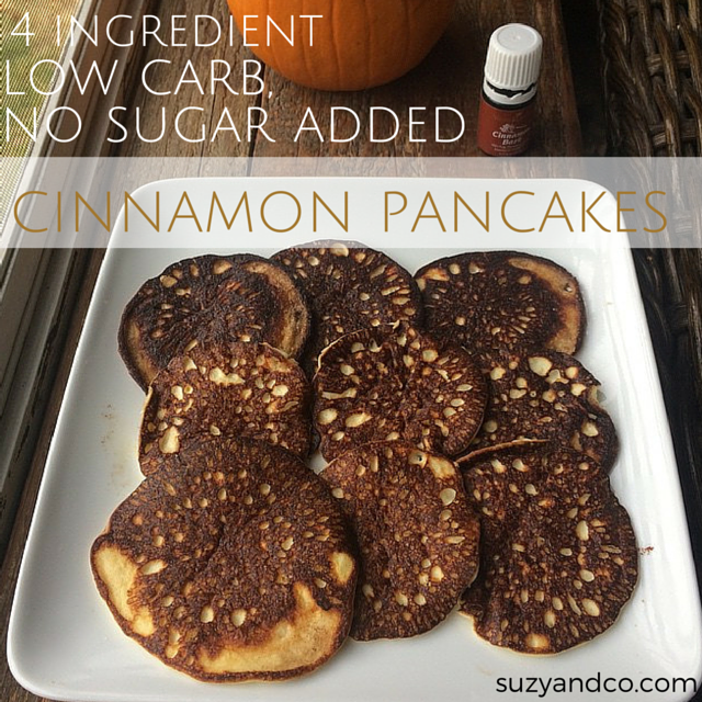 low carb, no sugar added cinnamon pancakes | suzyandco.com