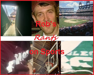 Rob's Rants on Sports logo; collage of jerseys and arenas from the area, and Rob