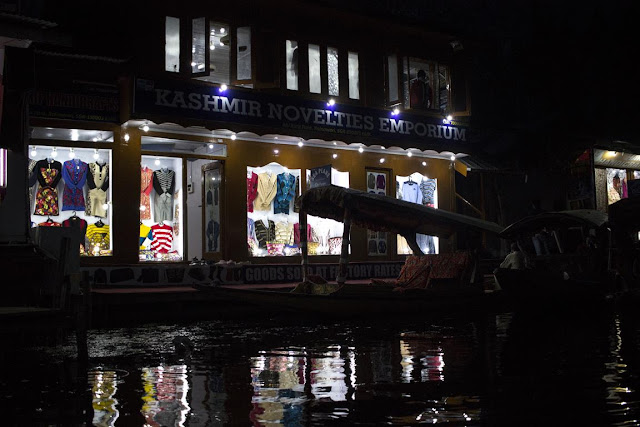 canals dal lake shopping night srinagar kashmir india