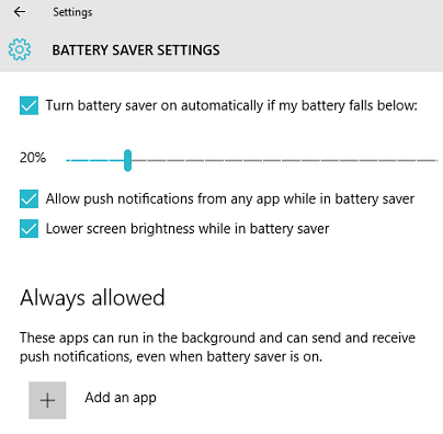 battery saver settings windows 10