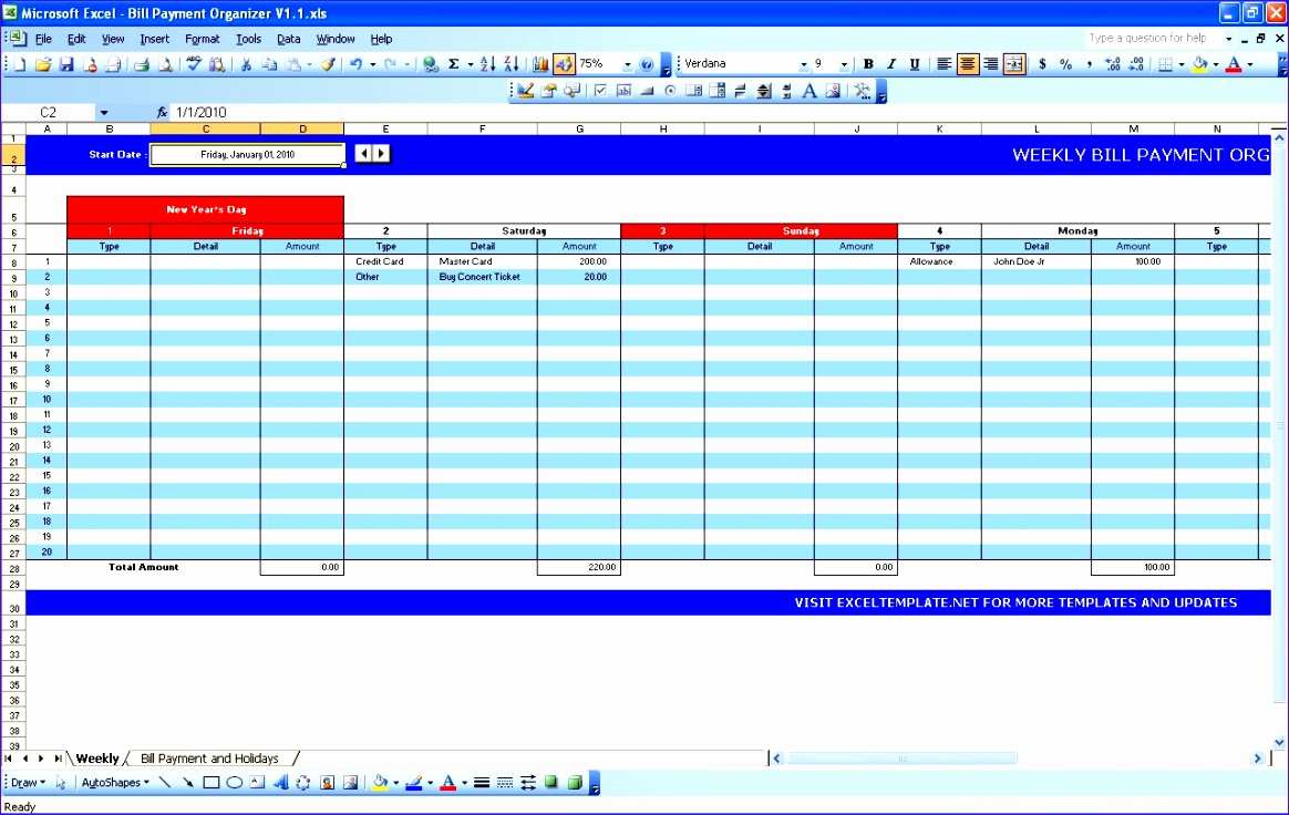 simple bill payment organizer with date tracker excel template