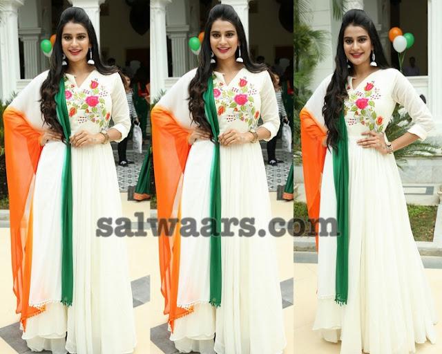 Jenny Honey in White Salwar