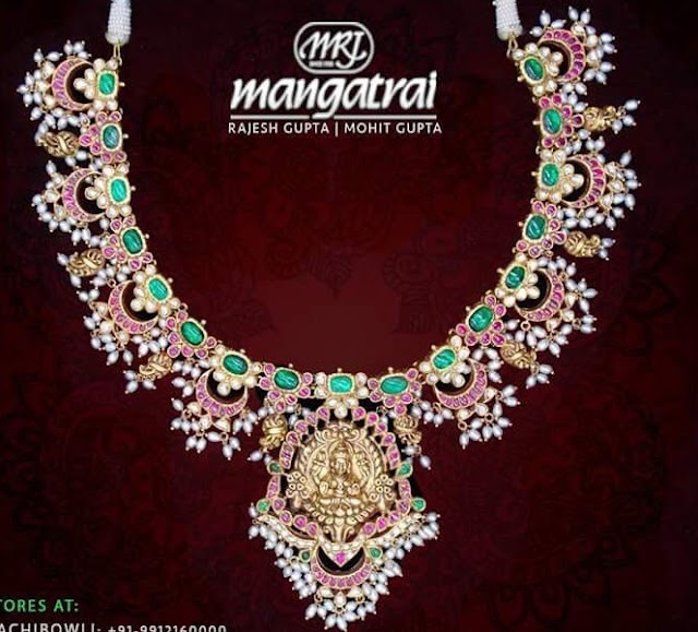 Chandbali Style Emeralds Choker by Mangatrai