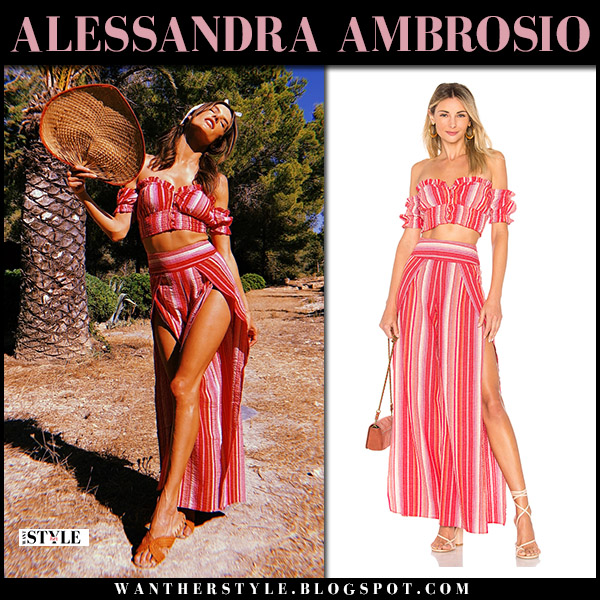 Alessandra Ambrosio in red striped crop top and red striped pants model beach style july 16