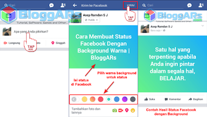 Tahap Membuat Status Facebook Dengan Background Warna