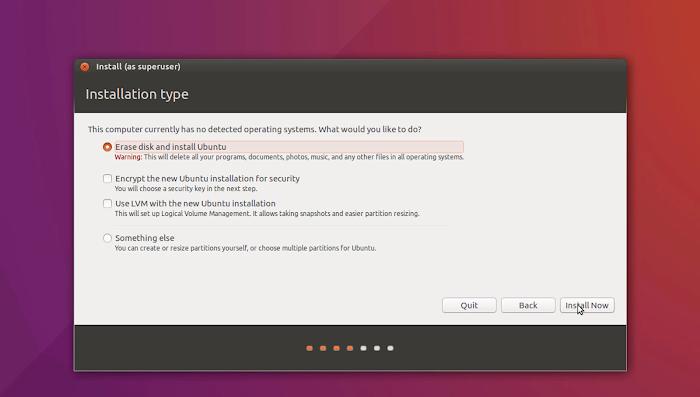 Erase All Data | Installation of Ubuntu