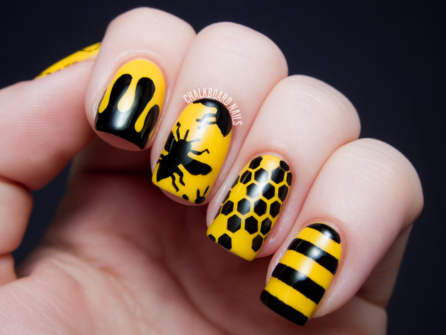 31dc2013 Day 03 Yellow Bee Silhouettes Chalkboard Nails Nail Art Blog